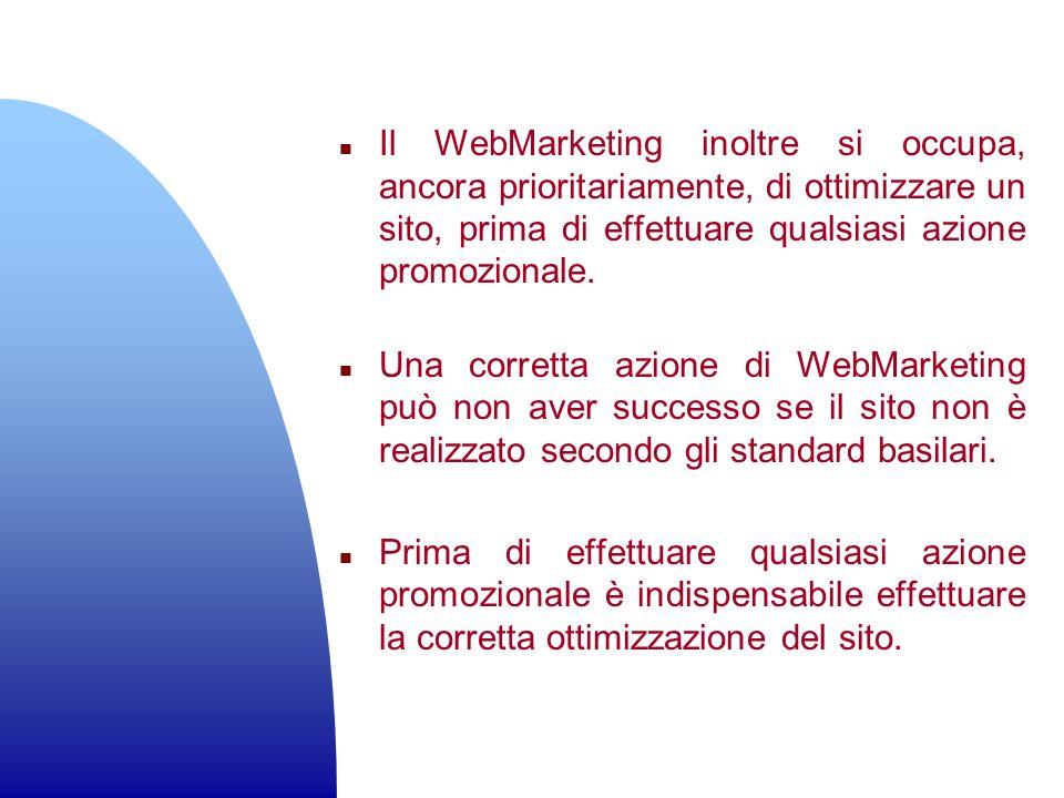 n Il WebMarketing inoltre si occupa, ancora prioritariamente, di ottimizzare un sito, prima di effettuare qualsiasi azione promozionale. n Una corrett