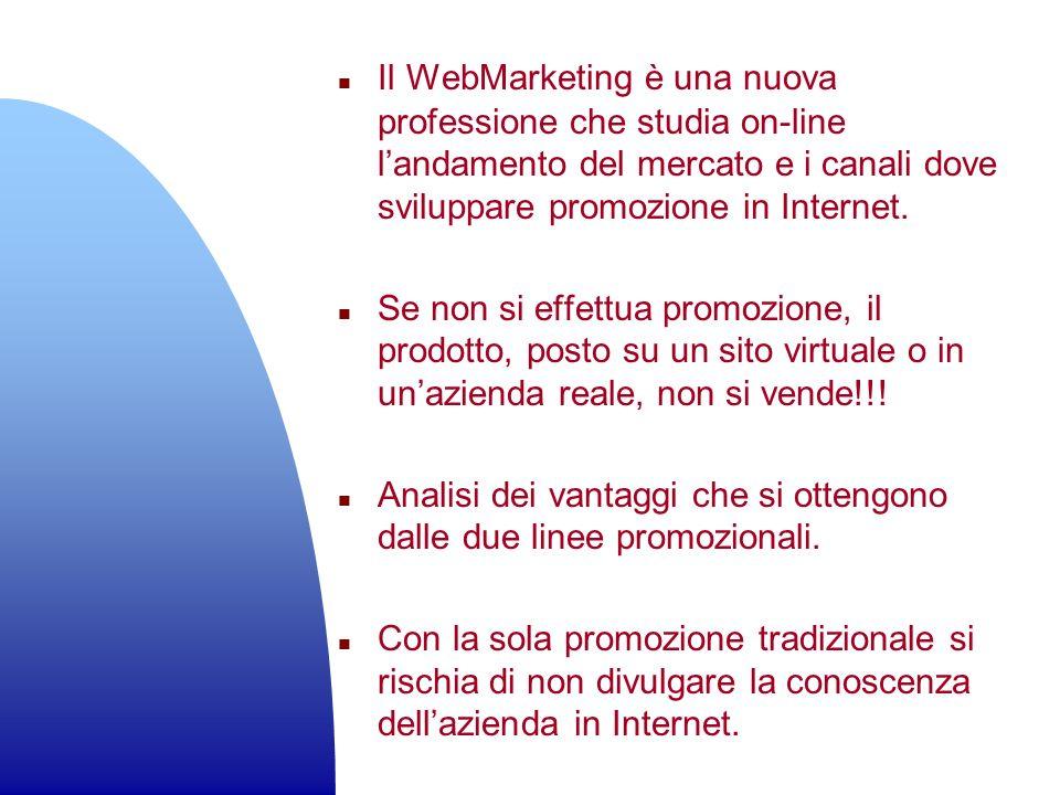 n Il WebMarketing è una nuova professione che studia on-line landamento del mercato e i canali dove sviluppare promozione in Internet. n Se non si eff