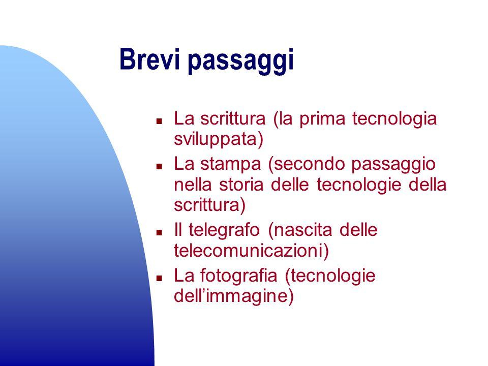 Brevi passaggi n La scrittura (la prima tecnologia sviluppata) n La stampa (secondo passaggio nella storia delle tecnologie della scrittura) n Il tele