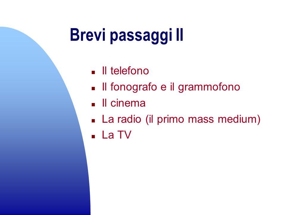 Brevi passaggi II n Il telefono n Il fonografo e il grammofono n Il cinema n La radio (il primo mass medium) n La TV