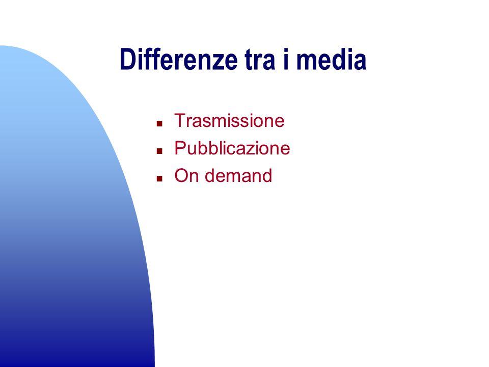Differenze tra i media n Trasmissione n Pubblicazione n On demand