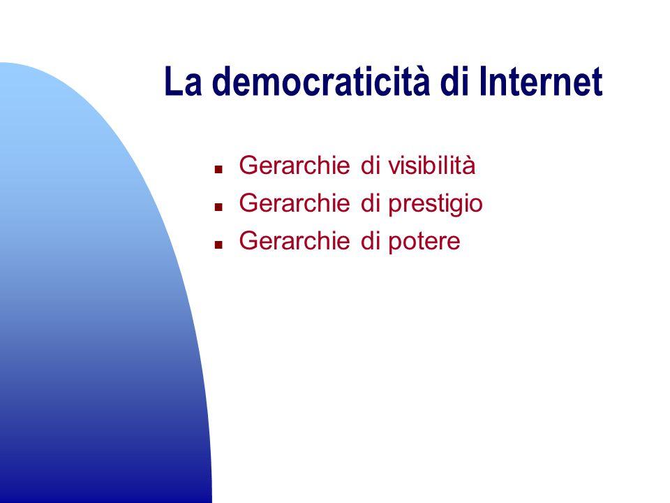 La democraticità di Internet n Gerarchie di visibilità n Gerarchie di prestigio n Gerarchie di potere