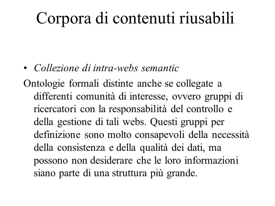 Corpora di contenuti riusabili Collezione di intra-webs semantic Ontologie formali distinte anche se collegate a differenti comunità di interesse, ovvero gruppi di ricercatori con la responsabilità del controllo e della gestione di tali webs.