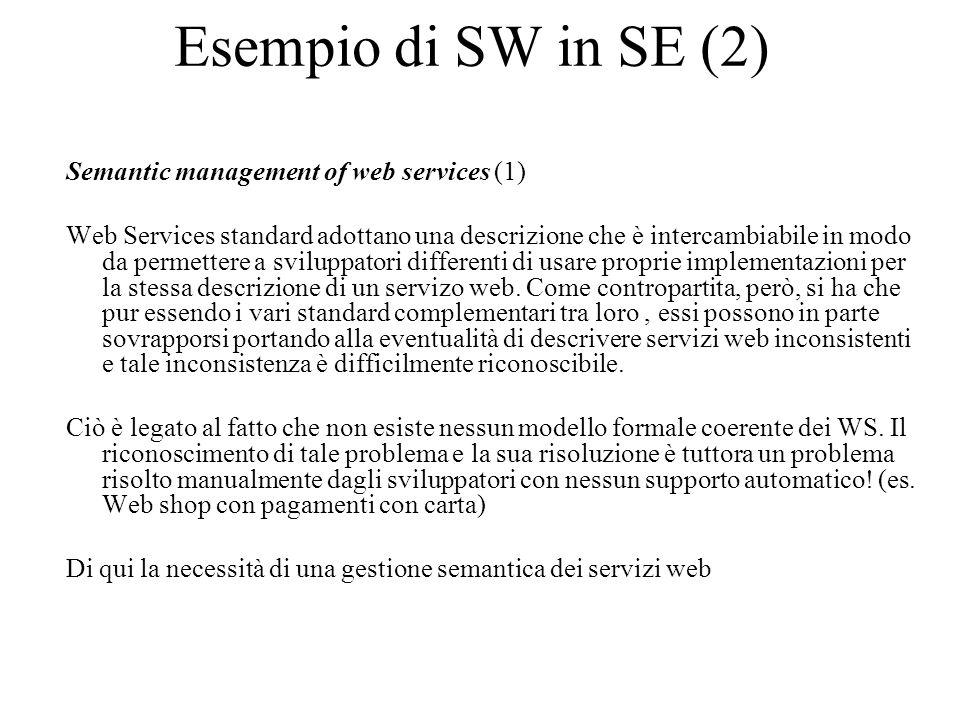 Esempio di SW in SE (2) Semantic management of web services (1) Web Services standard adottano una descrizione che è intercambiabile in modo da permettere a sviluppatori differenti di usare proprie implementazioni per la stessa descrizione di un servizo web.