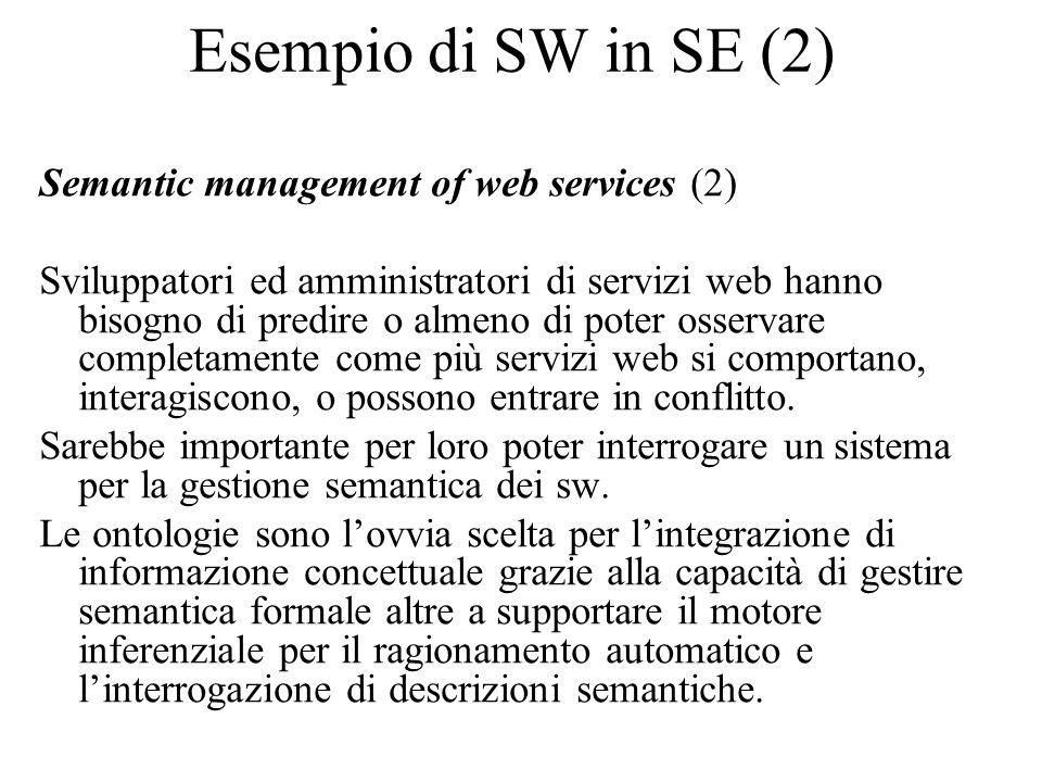 Esempio di SW in SE (2) Semantic management of web services (2) Sviluppatori ed amministratori di servizi web hanno bisogno di predire o almeno di poter osservare completamente come più servizi web si comportano, interagiscono, o possono entrare in conflitto.