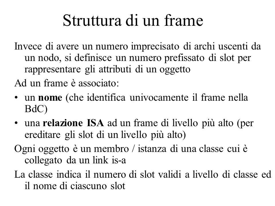 Struttura di un frame Invece di avere un numero imprecisato di archi uscenti da un nodo, si definisce un numero prefissato di slot per rappresentare gli attributi di un oggetto Ad un frame è associato: un nome (che identifica univocamente il frame nella BdC) una relazione ISA ad un frame di livello più alto (per ereditare gli slot di un livello più alto) Ogni oggetto è un membro / istanza di una classe cui è collegato da un link is-a La classe indica il numero di slot validi a livello di classe ed il nome di ciascuno slot