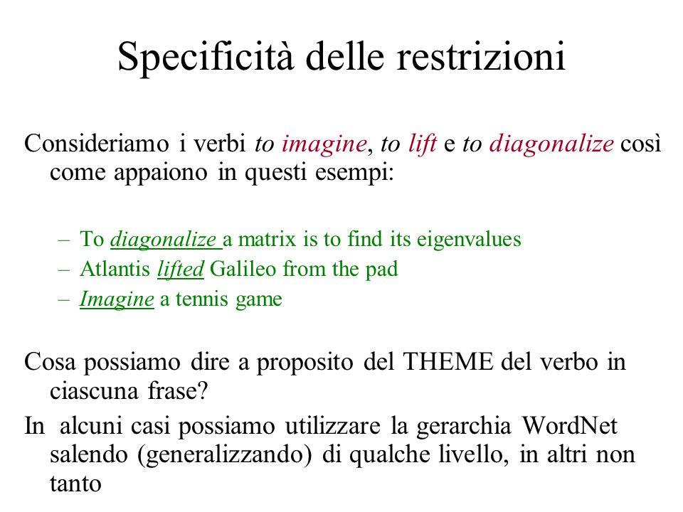 Specificità delle restrizioni Consideriamo i verbi to imagine, to lift e to diagonalize così come appaiono in questi esempi: –To diagonalize a matrix