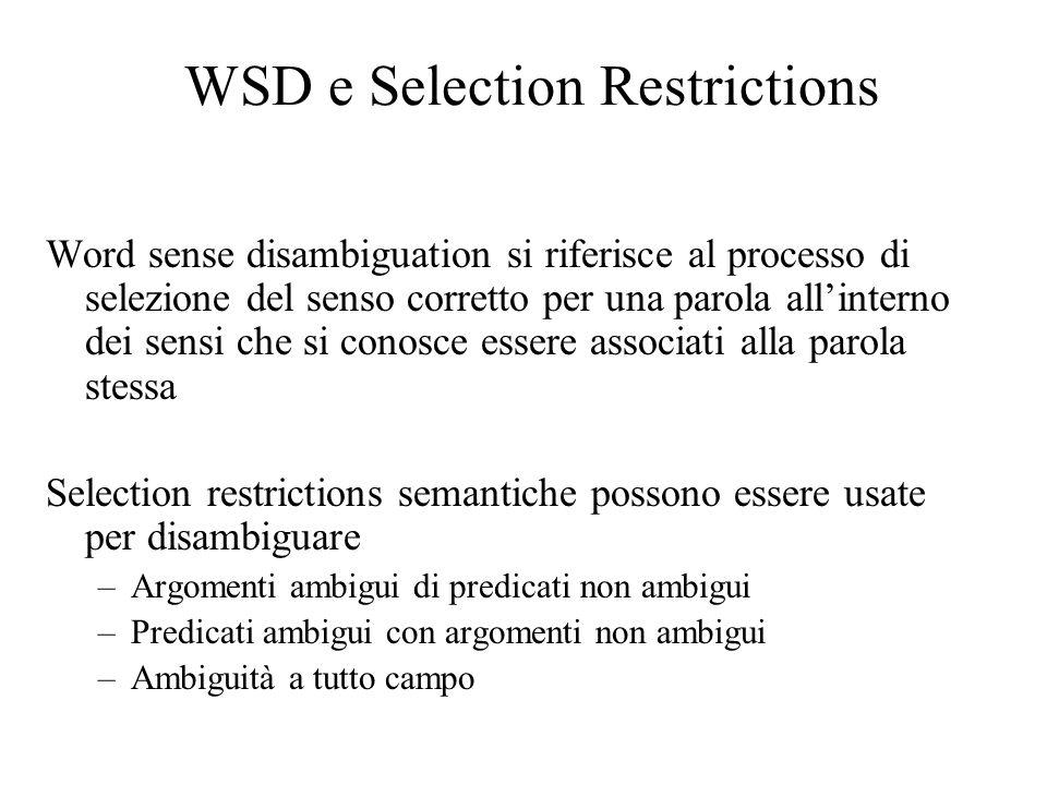 WSD e Selection Restrictions Word sense disambiguation si riferisce al processo di selezione del senso corretto per una parola allinterno dei sensi ch