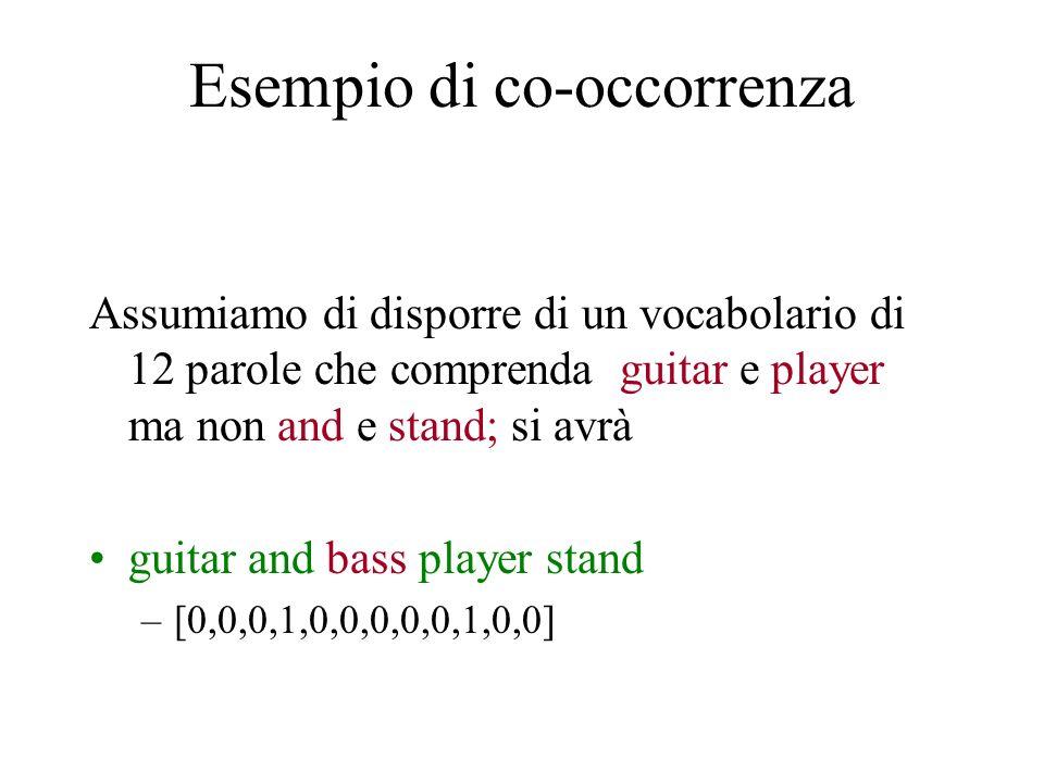 Esempio di co-occorrenza Assumiamo di disporre di un vocabolario di 12 parole che comprenda guitar e player ma non and e stand; si avrà guitar and bas