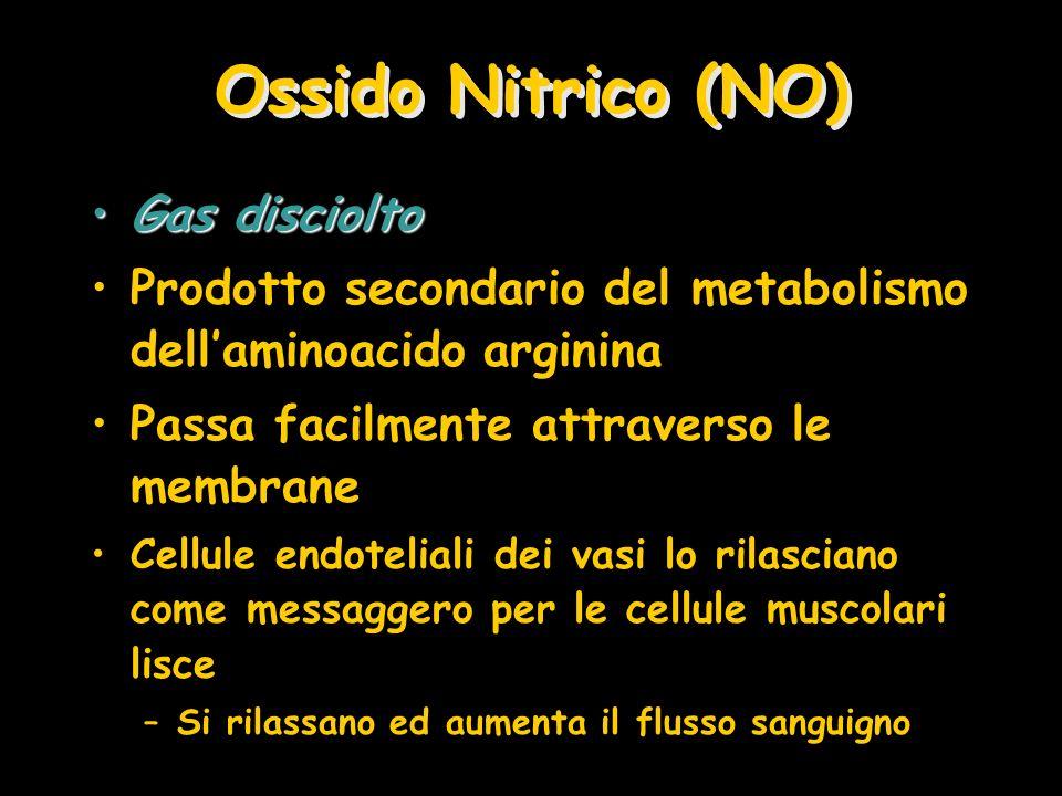 Ossido Nitrico (NO) Gas discioltoGas disciolto Prodotto secondario del metabolismo dellaminoacido arginina Passa facilmente attraverso le membrane Cel
