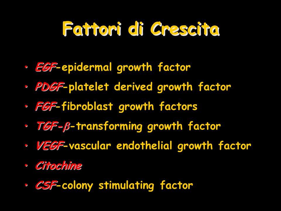 Fattori di Crescita EGFEGF-epidermal growth factor PDGFPDGF-platelet derived growth factor FGFFGF-fibroblast growth factors TGF-TGF- -transforming gro