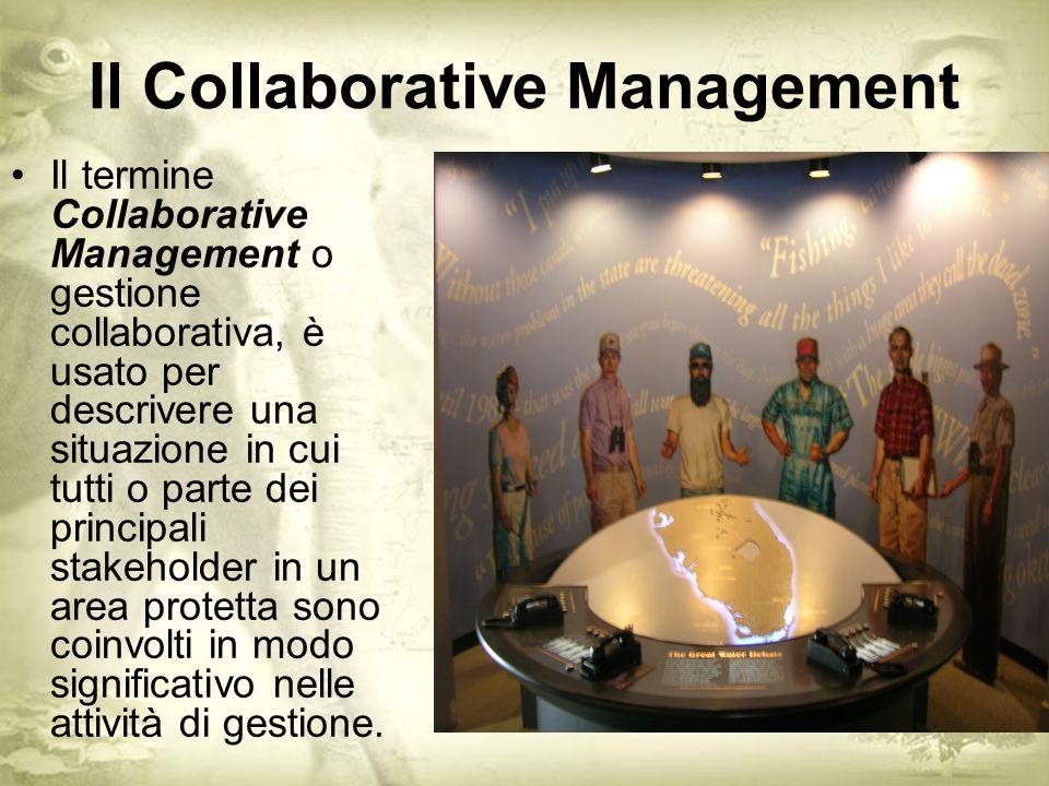 Il Collaborative Management Il termine Collaborative Management o gestione collaborativa, è usato per descrivere una situazione in cui tutti o parte dei principali stakeholder in un area protetta sono coinvolti in modo significativo nelle attività di gestione.