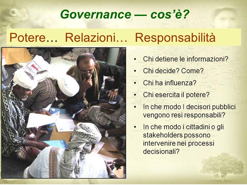 La Governanza si interessa di come si svolgono le modalità con cui interagiscono i governi e le altre organizzazioni sociali, come questi si relazionano con i cittadini, e come vengono assunte le decisioni in un mondo che aumenta continuamente la sua complessità.