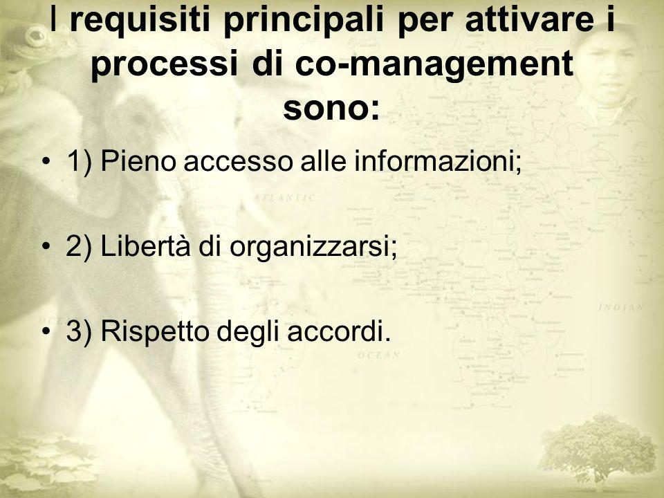 I requisiti principali per attivare i processi di co-management sono: 1) Pieno accesso alle informazioni; 2) Libertà di organizzarsi; 3) Rispetto degli accordi.