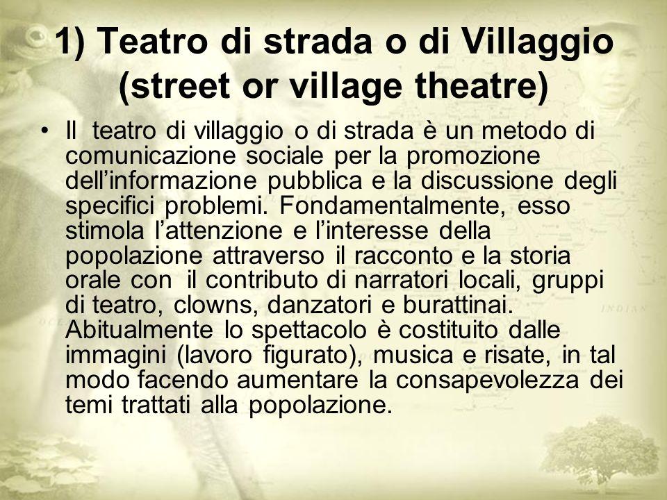 1) Teatro di strada o di Villaggio (street or village theatre) Il teatro di villaggio o di strada è un metodo di comunicazione sociale per la promozione dellinformazione pubblica e la discussione degli specifici problemi.
