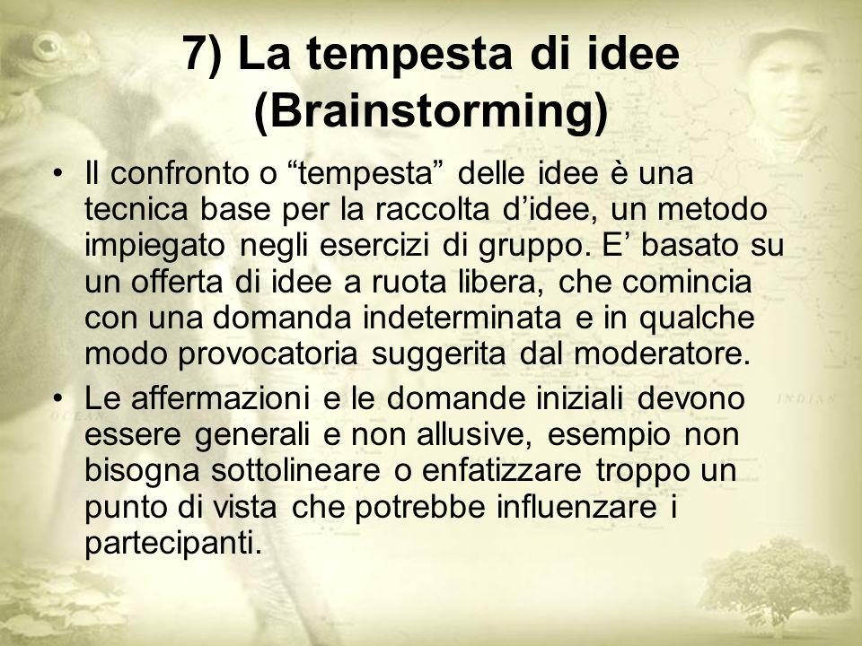 7) La tempesta di idee (Brainstorming) Il confronto o tempesta delle idee è una tecnica base per la raccolta didee, un metodo impiegato negli esercizi di gruppo.
