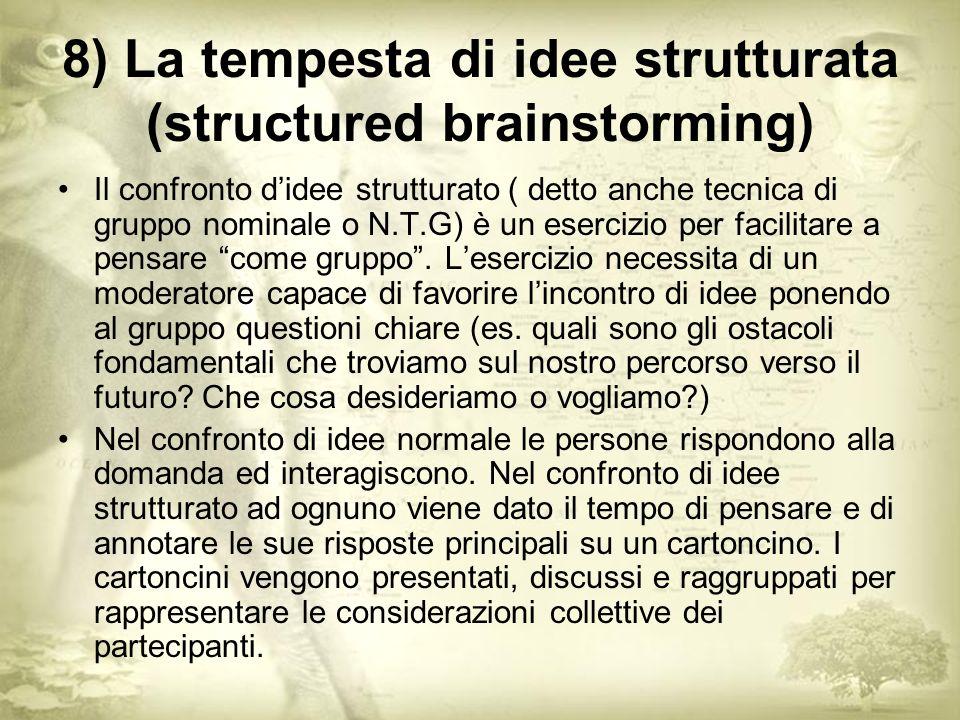 8) La tempesta di idee strutturata (structured brainstorming) Il confronto didee strutturato ( detto anche tecnica di gruppo nominale o N.T.G) è un esercizio per facilitare a pensare come gruppo.