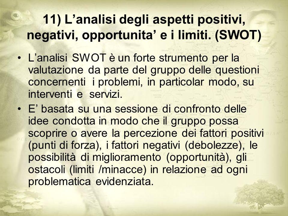 11) Lanalisi degli aspetti positivi, negativi, opportunita e i limiti.