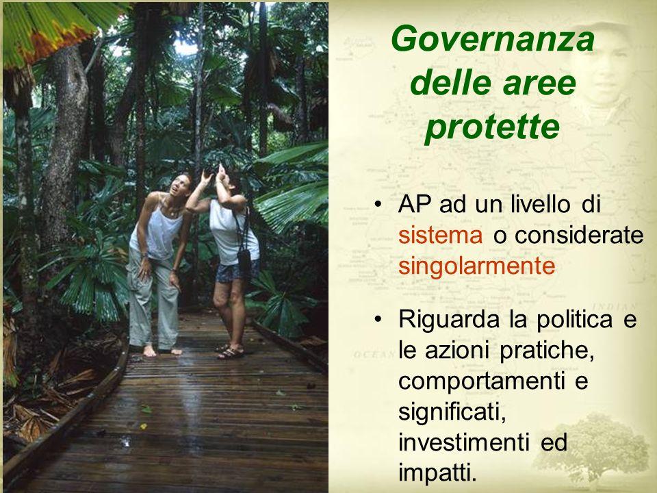 Interessa il raggiungimento degli obiettivi di conservazione (efficacia di gestione) Determina la condivisione dei costi e dei benefici (equità) Influenza la capacità di creare e sostenere le comunità,fornire supporto politico e finanziario (sostenibilità)