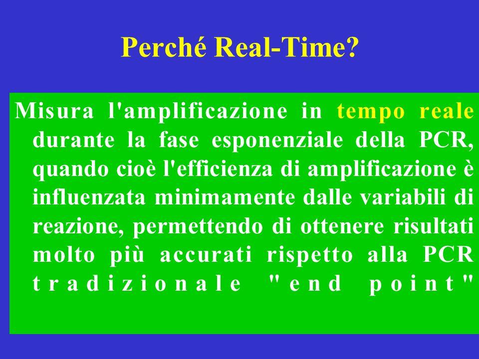 Perché Real-Time? Misura l'amplificazione in tempo reale durante la fase esponenziale della PCR, quando cioè l'efficienza di amplificazione è influenz