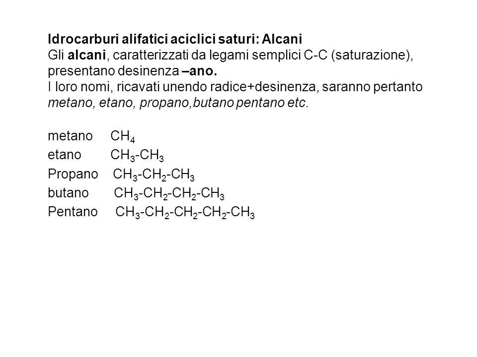 Idrocarburi alifatici aciclici saturi: Alcani Gli alcani, caratterizzati da legami semplici C-C (saturazione), presentano desinenza –ano. I loro nomi,