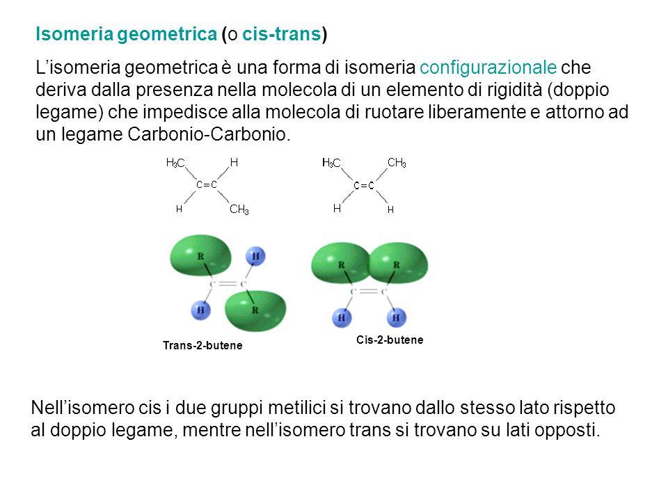 Trans-2-butene Cis-2-butene Nellisomero cis i due gruppi metilici si trovano dallo stesso lato rispetto al doppio legame, mentre nellisomero trans si