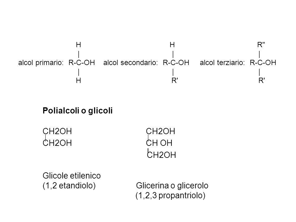 Polialcoli o glicoli CH2OH CH2OH CH OH CH2OH Glicole etilenico (1,2 etandiolo) Glicerina o glicerolo (1,2,3 propantriolo) H H R | | | alcol primario: R-C-OH alcol secondario: R-C-OH alcol terziario: R-C-OH | | | H R R