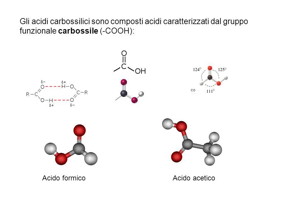 Gli acidi carbossilici sono composti acidi caratterizzati dal gruppo funzionale carbossile (-COOH): Acido formicoAcido acetico