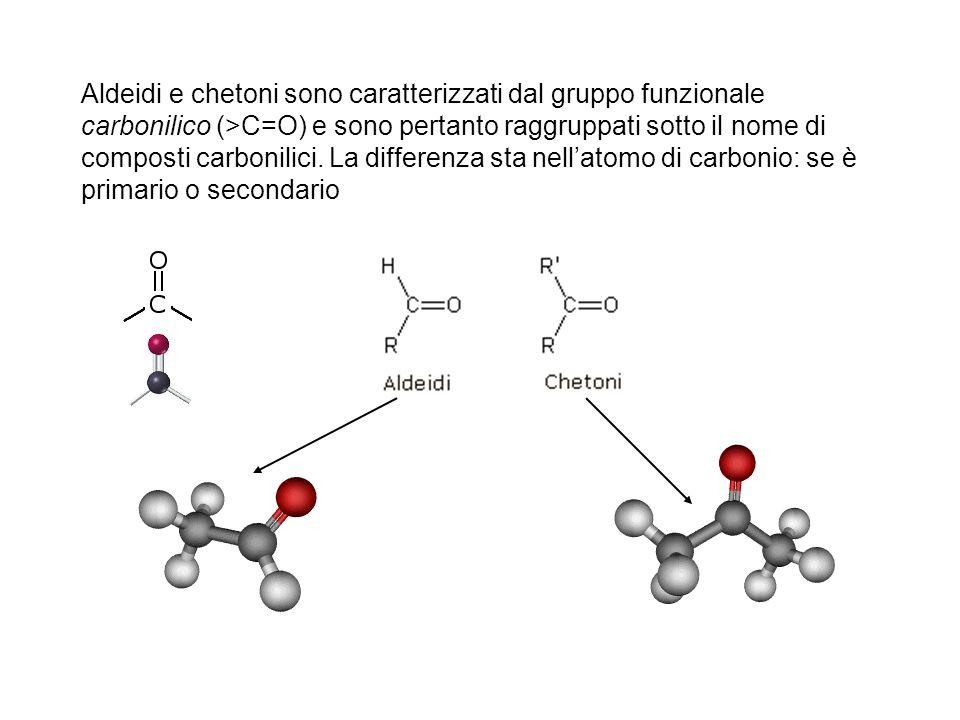 Aldeidi e chetoni sono caratterizzati dal gruppo funzionale carbonilico (>C=O) e sono pertanto raggruppati sotto il nome di composti carbonilici. La d
