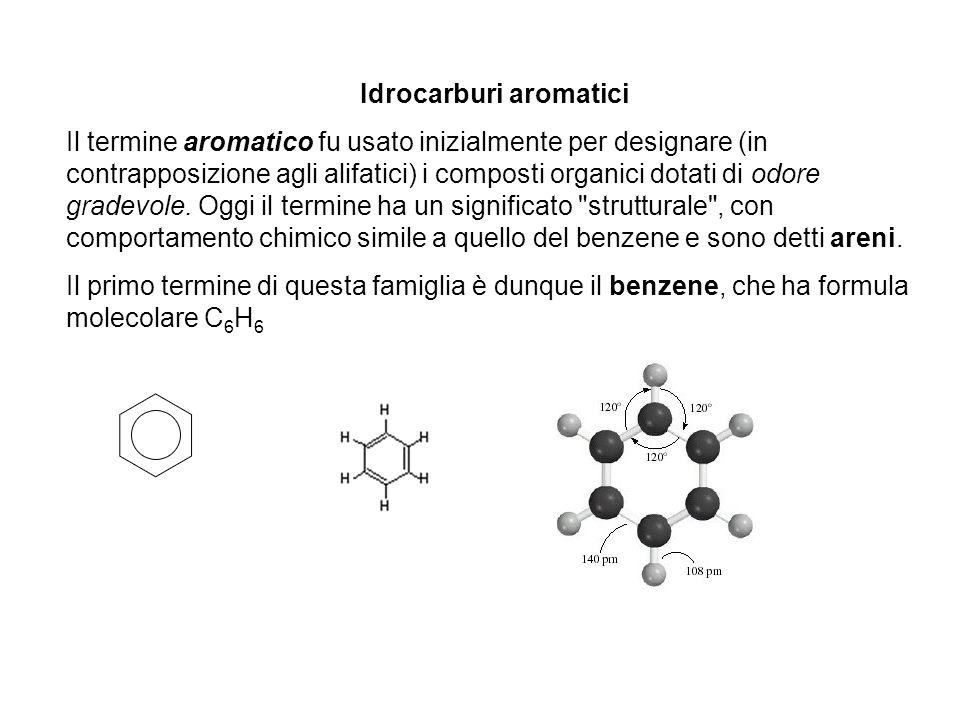 Idrocarburi aromatici Il termine aromatico fu usato inizialmente per designare (in contrapposizione agli alifatici) i composti organici dotati di odor