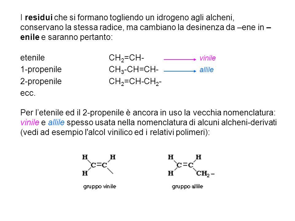 Per letenile ed il 2-propenile è ancora in uso la vecchia nomenclatura: vinile e allile spesso usata nella nomenclatura di alcuni alcheni-derivati (vedi ad esempio l alcol vinilico ed i relativi polimeri): I residui che si formano togliendo un idrogeno agli alcheni, conservano la stessa radice, ma cambiano la desinenza da –ene in – enile e saranno pertanto: etenileCH 2 =CH- vinile 1-propenileCH 3 -CH=CH- allile 2-propenileCH 2 =CH-CH 2 - ecc.