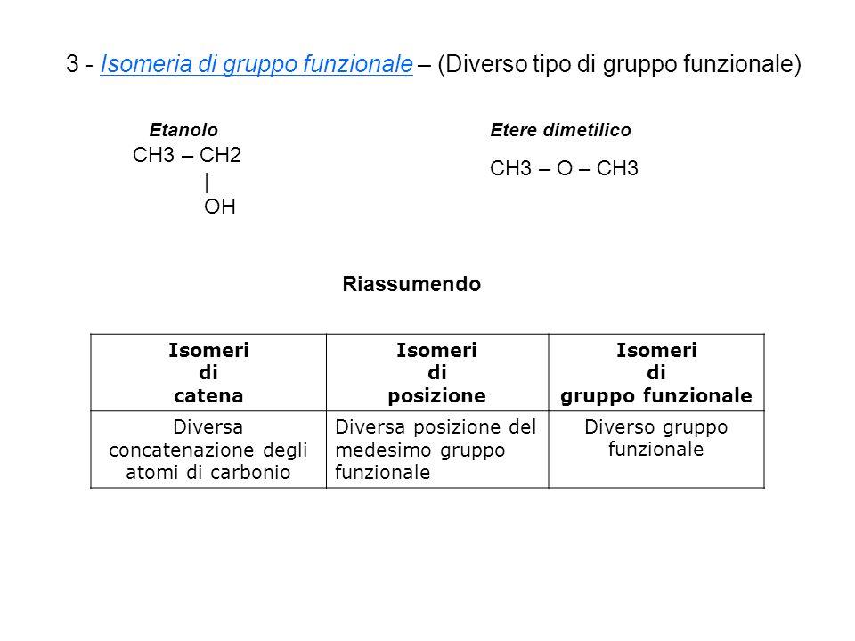 3 - Isomeria di gruppo funzionale – (Diverso tipo di gruppo funzionale) Etanolo CH3 – CH2 | OH Etere dimetilico CH3 – O – CH3 Isomeri di catena Isomeri di posizione Isomeri di gruppo funzionale Diversa concatenazione degli atomi di carbonio Diversa posizione del medesimo gruppo funzionale Diverso gruppo funzionale Riassumendo
