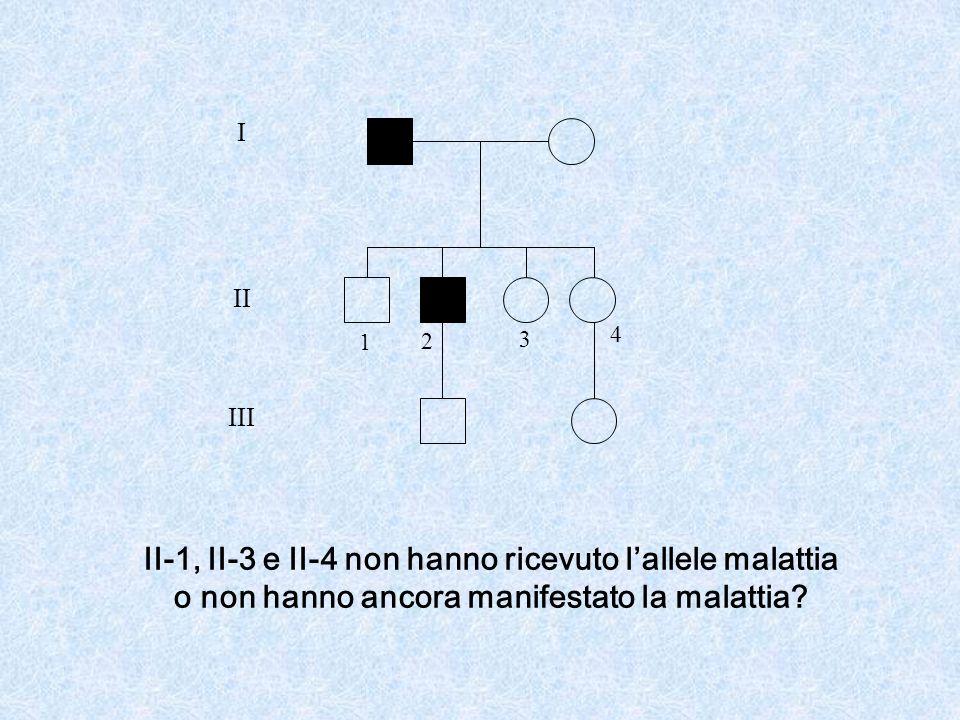 I II III II-1, II-3 e II-4 non hanno ricevuto lallele malattia o non hanno ancora manifestato la malattia.