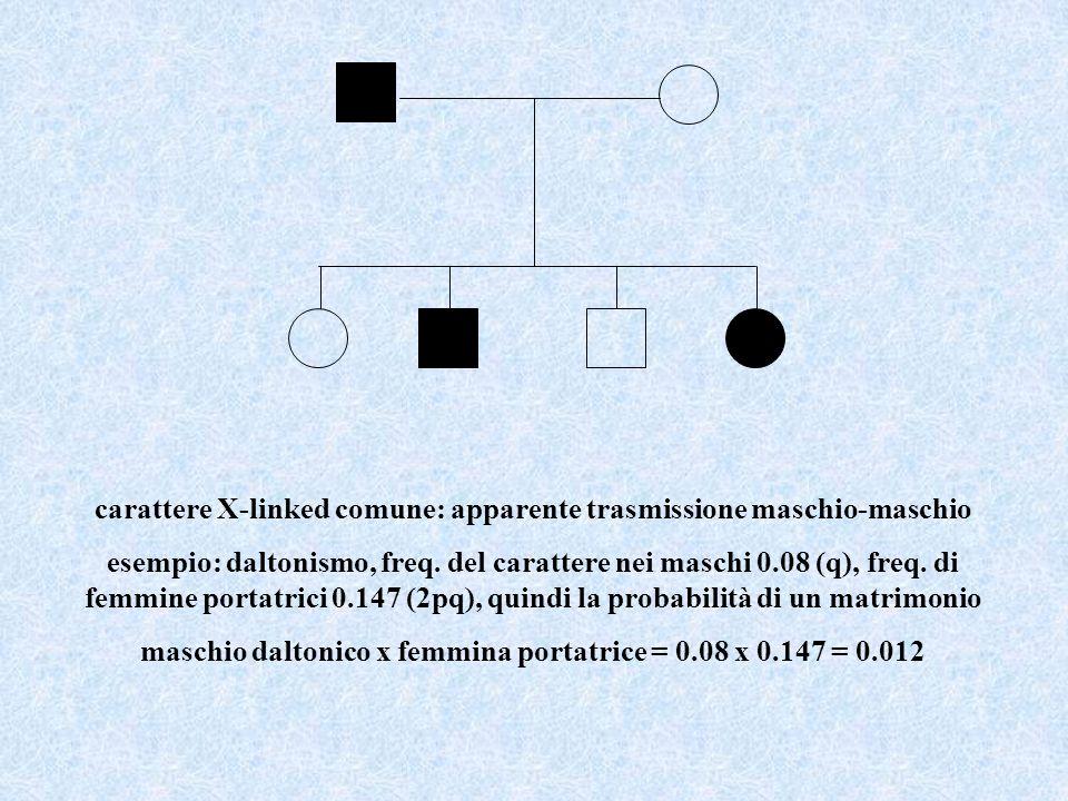 carattere X-linked comune: apparente trasmissione maschio-maschio esempio: daltonismo, freq.