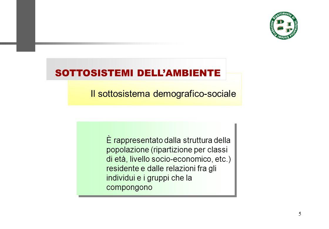 5 Il sottosistema demografico-sociale SOTTOSISTEMI DELLAMBIENTE È rappresentato dalla struttura della popolazione (ripartizione per classi di età, liv