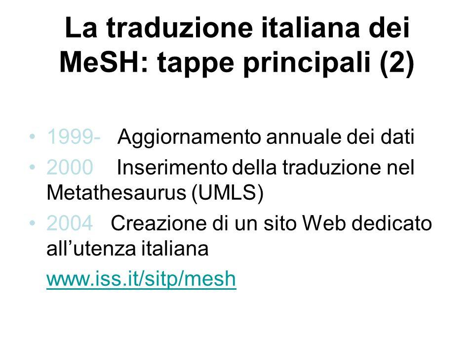 La traduzione italiana dei MeSH: tappe principali (2) 1999- Aggiornamento annuale dei dati 2000 Inserimento della traduzione nel Metathesaurus (UMLS) 2004 Creazione di un sito Web dedicato allutenza italiana www.iss.it/sitp/mesh