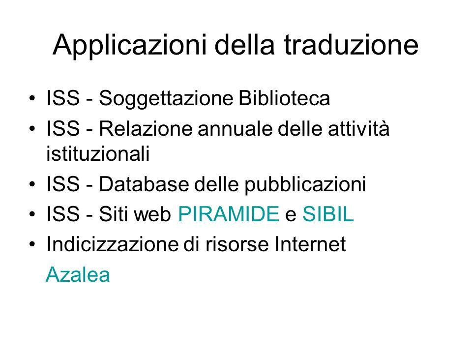 Applicazioni della traduzione ISS - Soggettazione Biblioteca ISS - Relazione annuale delle attività istituzionali ISS - Database delle pubblicazioni ISS - Siti web PIRAMIDE e SIBIL Indicizzazione di risorse Internet Azalea