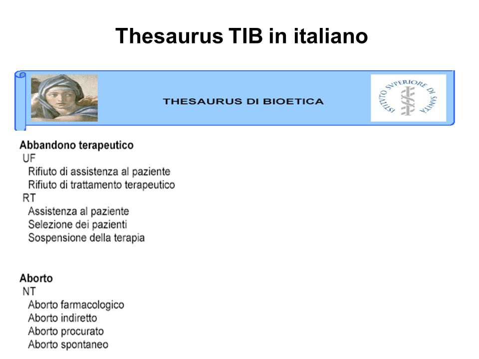 Thesaurus TIB in italiano