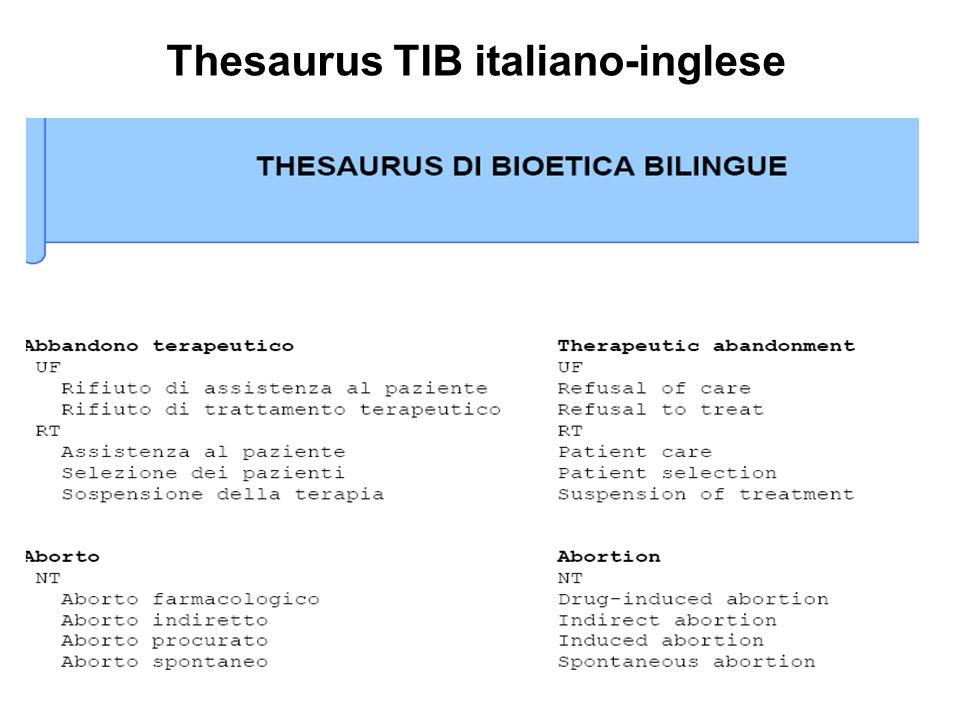 Thesaurus TIB italiano-inglese