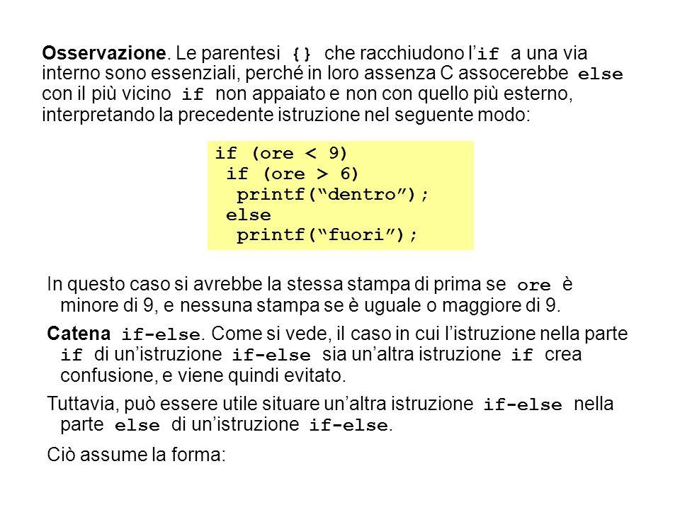 if (ore < 9) if (ore > 6) printf(dentro); else printf(fuori); In questo caso si avrebbe la stessa stampa di prima se ore è minore di 9, e nessuna stampa se è uguale o maggiore di 9.