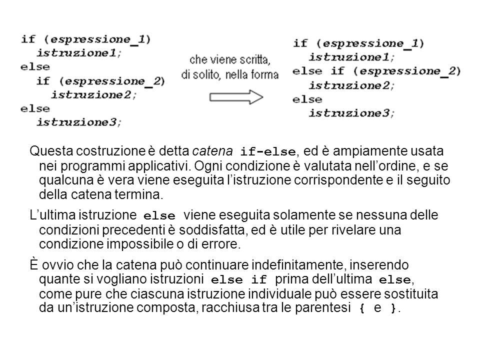 Questa costruzione è detta catena if-else, ed è ampiamente usata nei programmi applicativi.