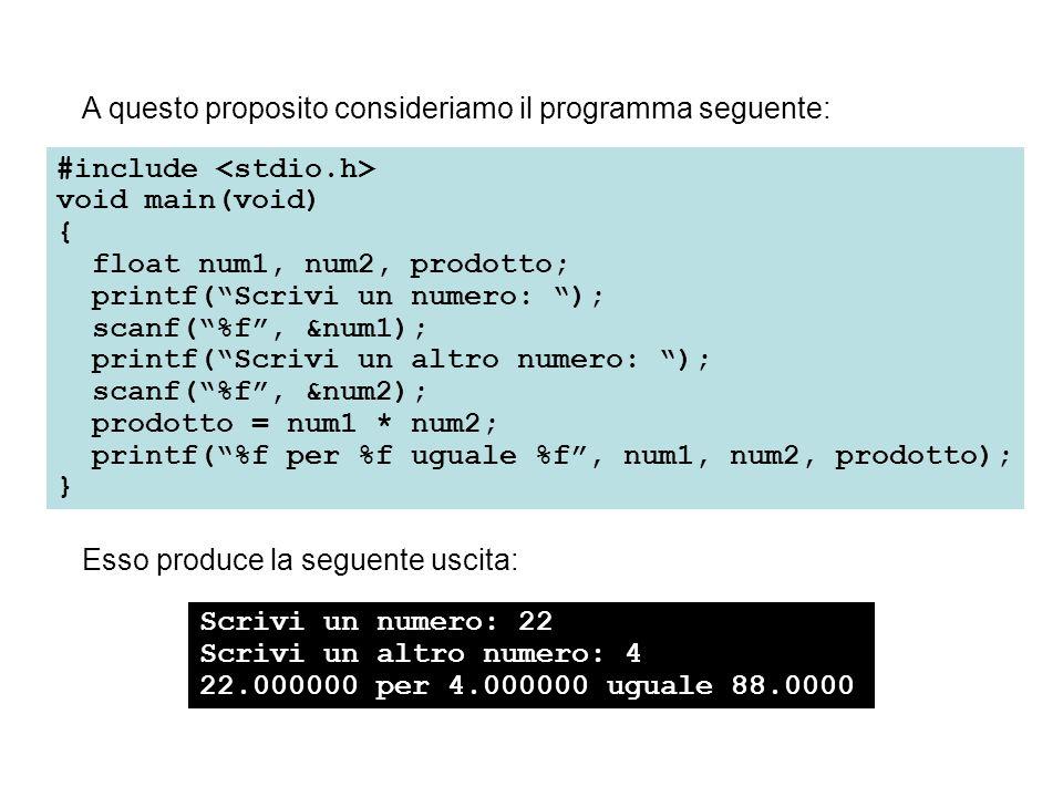 A questo proposito consideriamo il programma seguente: #include void main(void) { float num1, num2, prodotto; printf(Scrivi un numero: ); scanf(%f, &num1); printf(Scrivi un altro numero: ); scanf(%f, &num2); prodotto = num1 * num2; printf(%f per %f uguale %f, num1, num2, prodotto); } Esso produce la seguente uscita: Scrivi un numero: 22 Scrivi un altro numero: 4 22.000000 per 4.000000 uguale 88.0000