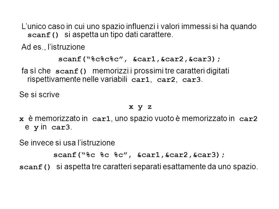 Lunico caso in cui uno spazio influenzi i valori immessi si ha quando scanf() si aspetta un tipo dati carattere.