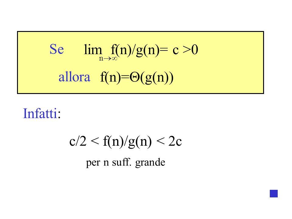 lim f(n)/g(n)= c >0 f(n)= (g(n)) c/2 < f(n)/g(n) < 2c n Se allora Infatti: per n suff. grande