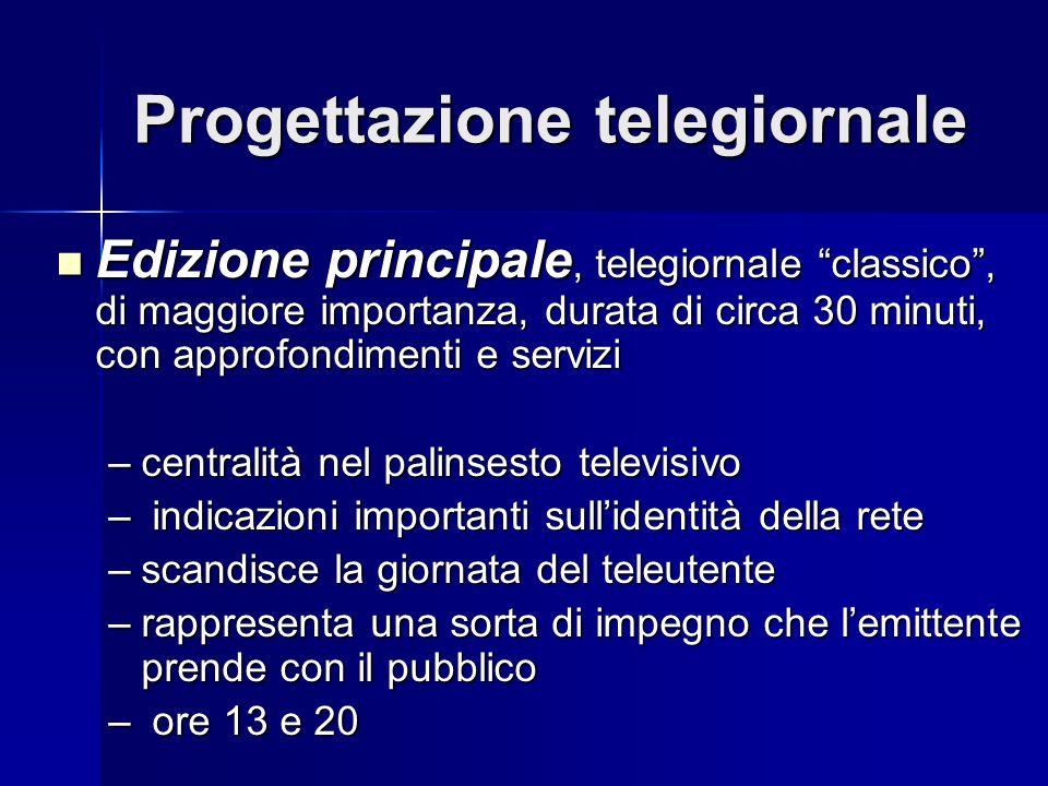 Progettazione telegiornale Edizione principale, telegiornale classico, di maggiore importanza, durata di circa 30 minuti, con approfondimenti e serviz