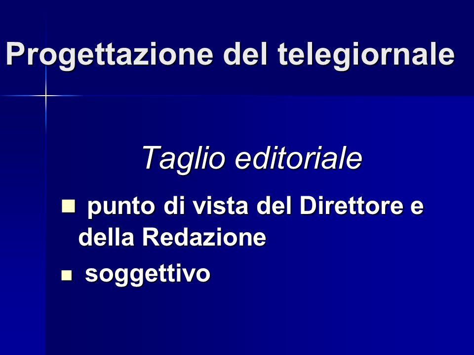 Progettazione del telegiornale Taglio editoriale punto di vista del Direttore e della Redazione punto di vista del Direttore e della Redazione soggettivo soggettivo