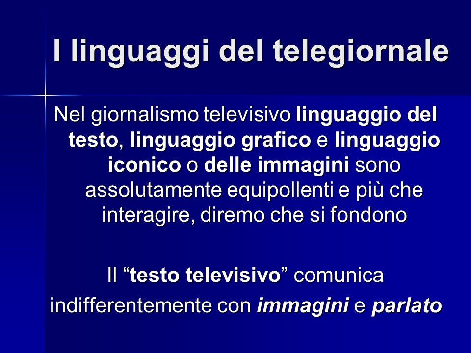 I linguaggi del telegiornale Nel giornalismo televisivo linguaggio del testo, linguaggio grafico e linguaggio iconico o delle immagini sono assolutamente equipollenti e più che interagire, diremo che si fondono Il testo televisivo comunica indifferentemente con immagini e parlato