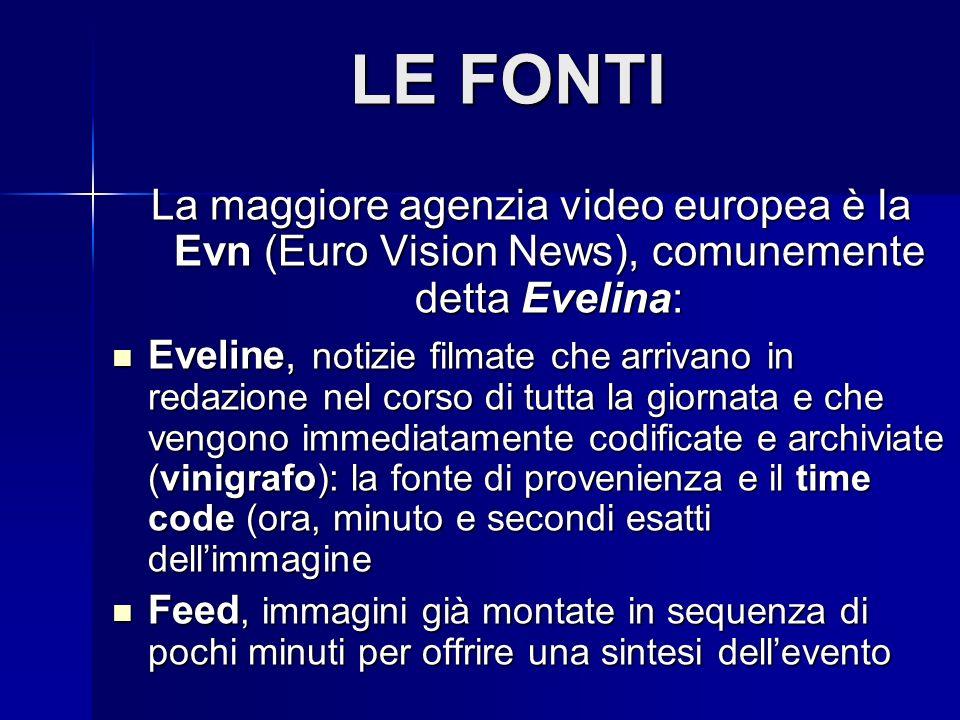 LE FONTI La maggiore agenzia video europea è la Evn (Euro Vision News), comunemente detta Evelina: Eveline, notizie filmate che arrivano in redazione