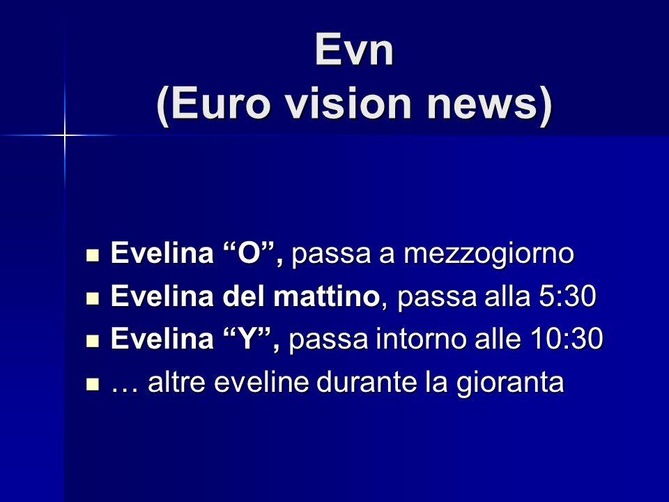 Evn (Euro vision news) Evelina O, passa a mezzogiorno Evelina O, passa a mezzogiorno Evelina del mattino, passa alla 5:30 Evelina del mattino, passa alla 5:30 Evelina Y, passa intorno alle 10:30 Evelina Y, passa intorno alle 10:30 … altre eveline durante la gioranta … altre eveline durante la gioranta