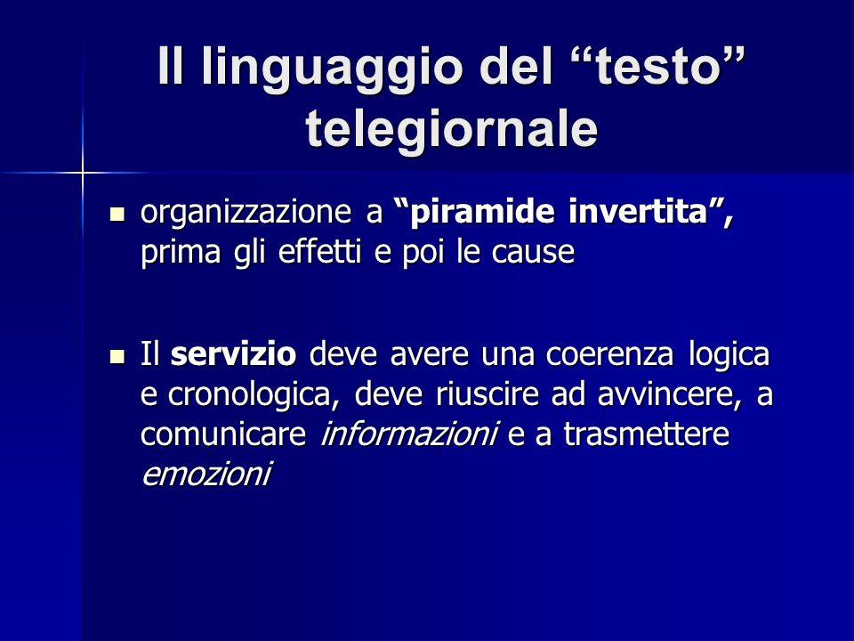 Il linguaggio del testo telegiornale organizzazione a piramide invertita, prima gli effetti e poi le cause organizzazione a piramide invertita, prima
